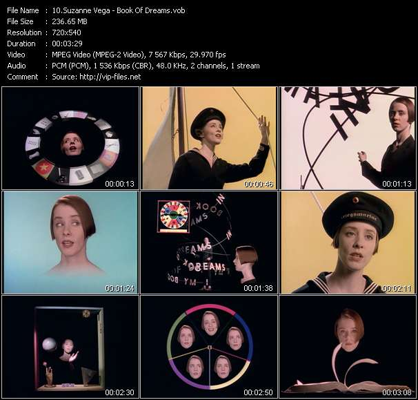 Screenshot of Music Video Suzanne Vega - Book Of Dreams
