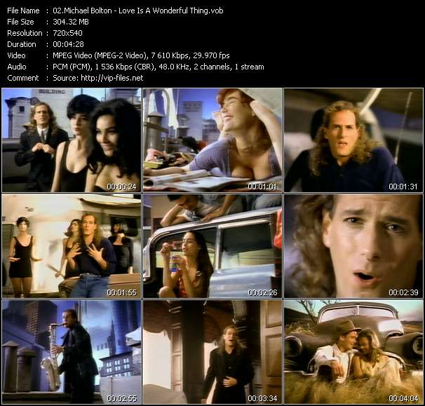 Screenshot of Music Video Michael Bolton - Love Is A Wonderful Thing