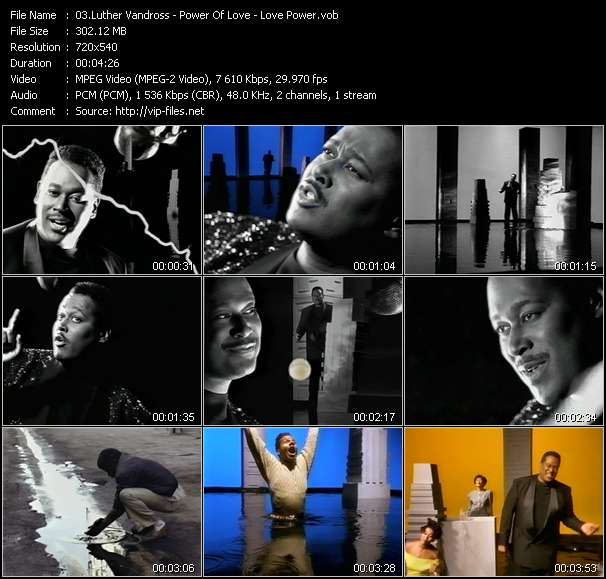 Screenshot of Music Video Luther Vandross - Power Of Love - Love Power