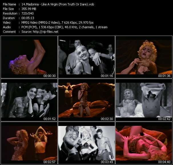 """Screenshot of Music Video Madonna - Like A Virgin (From """"Truth Or Dare"""")"""