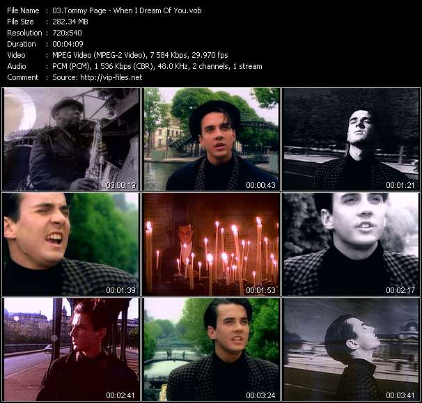 Screenshot of Music Video Tommy Page - When I Dream Of You