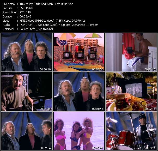 Screenshot of Music Video Crosby, Stills And Nash - Live It Up