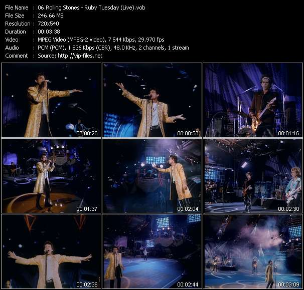 Screenshot of Music Video Rolling Stones - Ruby Tuesday (Live)