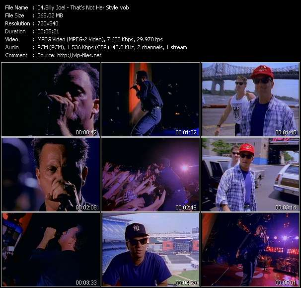 Screenshot of Music Video Billy Joel - That's Not Her Style