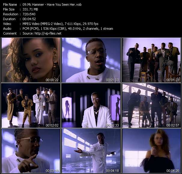 Screenshot of Music Video Mc Hammer - Have You Seen Her