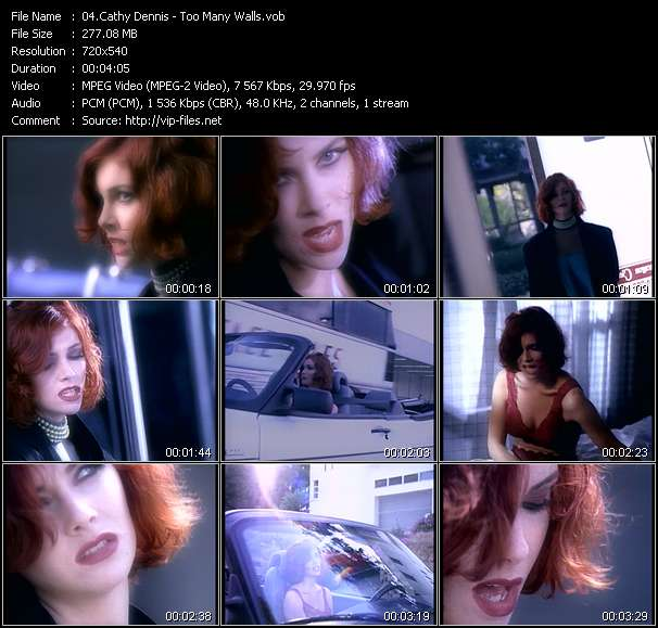 Screenshot of Music Video Cathy Dennis - Too Many Walls