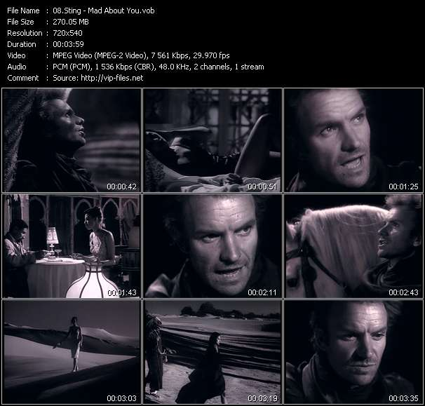 Screenshot of Music Video Sting - Mad About You