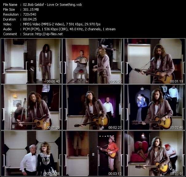 Screenshot of Music Video Bob Geldof - Love Or Something