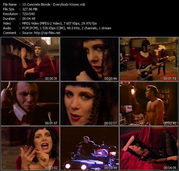 Screenshot of Music Video Concrete Blonde - Everybody Knows