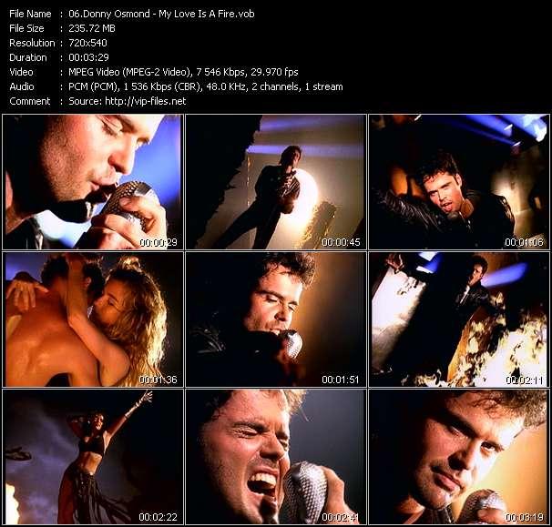 Screenshot of Music Video Donny Osmond - My Love Is A Fire