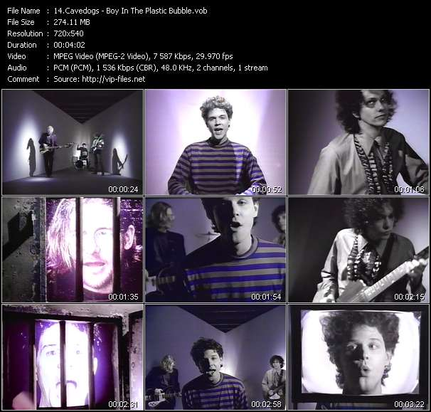 Screenshot of Music Video Cavedogs - Boy In The Plastic Bubble