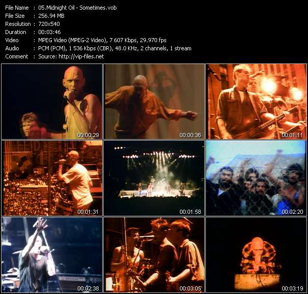 Screenshot of Music Video Midnight Oil - Sometimes