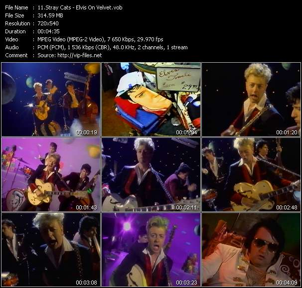 Screenshot of Music Video Stray Cats - Elvis On Velvet