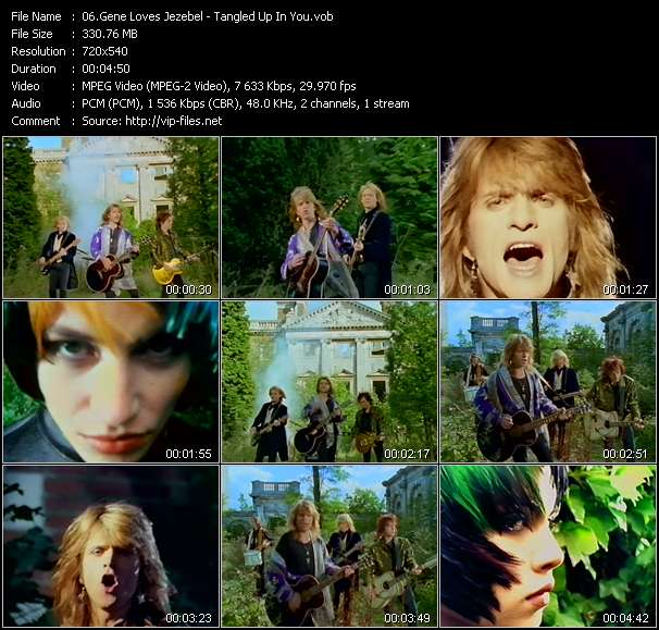 Screenshot of Music Video Gene Loves Jezebel - Tangled Up In You