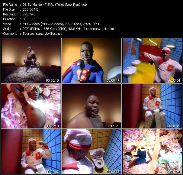 Screenshot of Music Video Biz Markie - T.S.R. (Toilet Stool Rap)