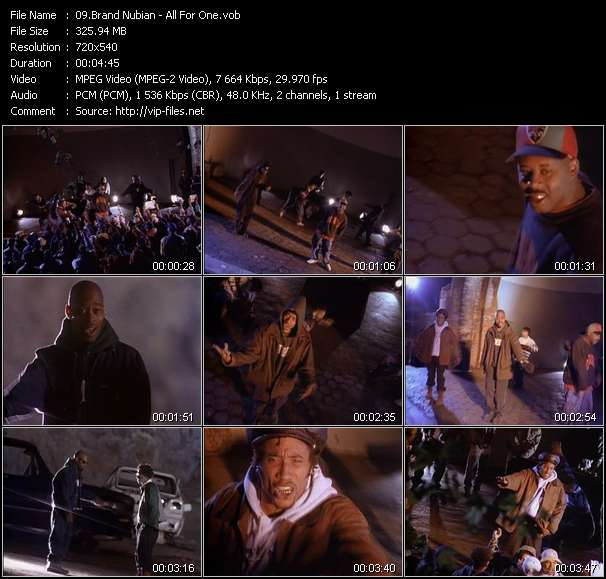 Screenshot of Music Video Brand Nubian - All For One