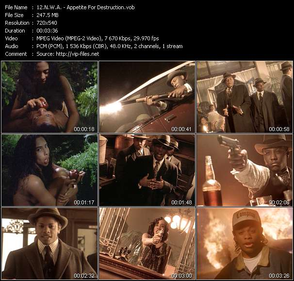 Screenshot of Music Video N.W.A. - Appetite For Destruction