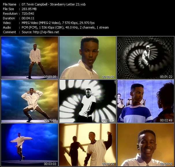 Screenshot of Music Video Tevin Campbell - Strawberry Letter 23