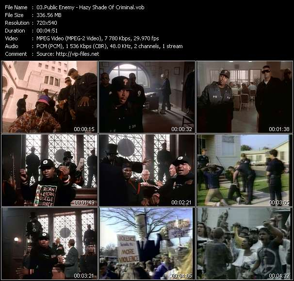 Screenshot of Music Video Public Enemy - Hazy Shade Of Criminal
