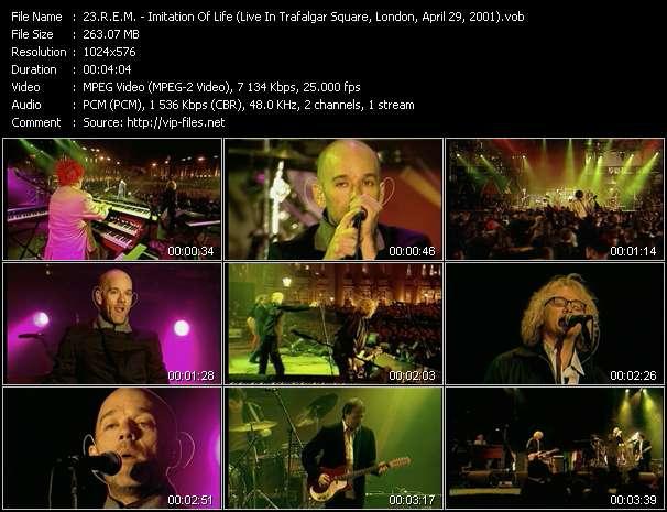 Screenshot of Music Video R.E.M. - Imitation Of Life (Live In Trafalgar Square, London, April 29, 2001)