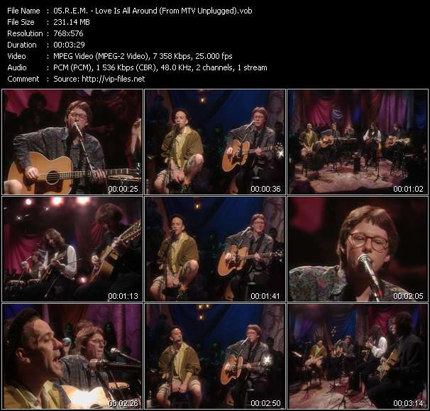 Screenshot of Music Video R.E.M. - Love Is All Around (From MTV Unplugged)