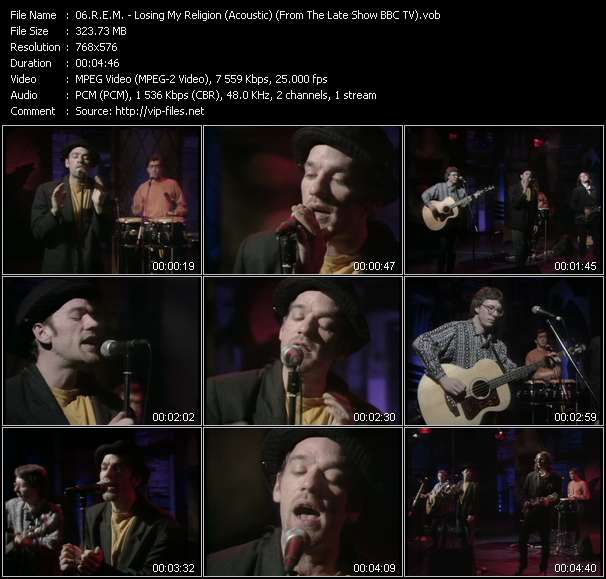 Screenshot of Music Video R.E.M. - Losing My Religion (Acoustic) (From The Late Show BBC TV)