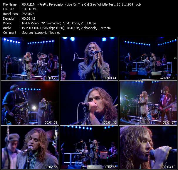 Screenshot of Music Video R.E.M. - Pretty Persuasion (Live On The Old Grey Whistle Test, 20.11.1984)