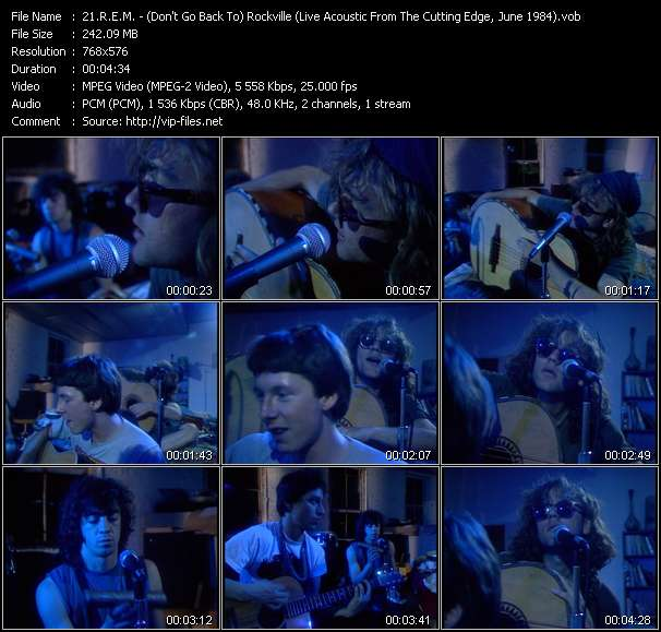 Screenshot of Music Video R.E.M. - (Don't Go Back To) Rockville (Live Acoustic From The Cutting Edge, June 1984)