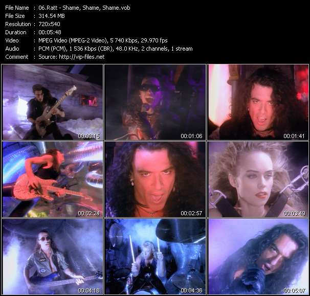 Screenshot of Music Video Ratt - Shame, Shame, Shame