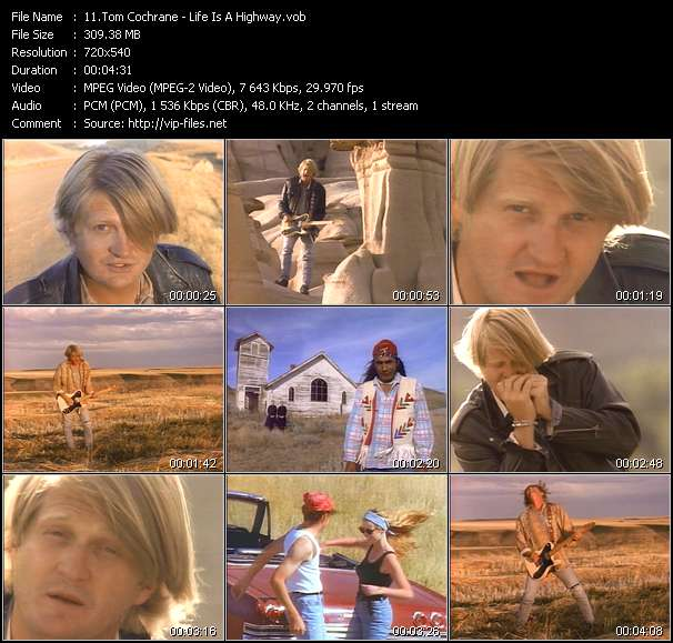 Screenshot of Music Video Tom Cochrane - Life Is A Highway