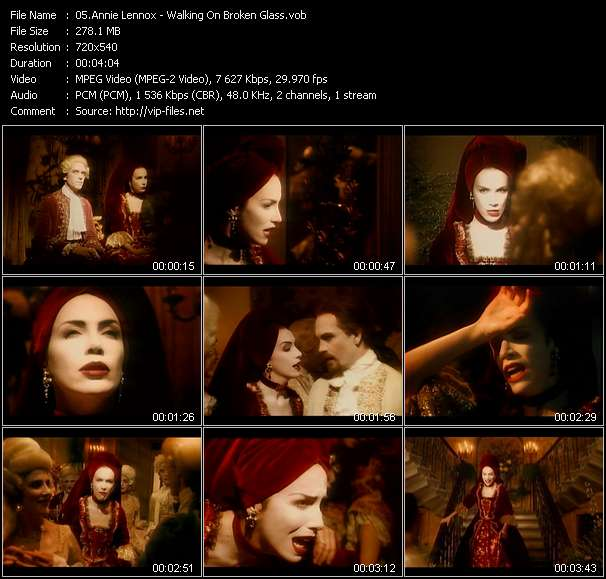 Screenshot of Music Video Annie Lennox - Walking On Broken Glass