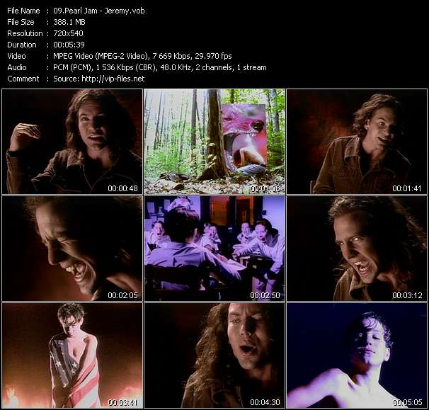 Screenshot of Music Video Pearl Jam - Jeremy