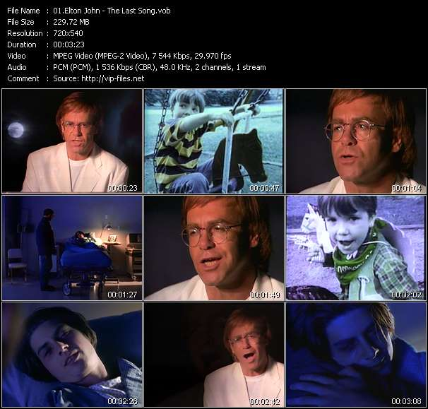 Screenshot of Music Video Elton John - The Last Song