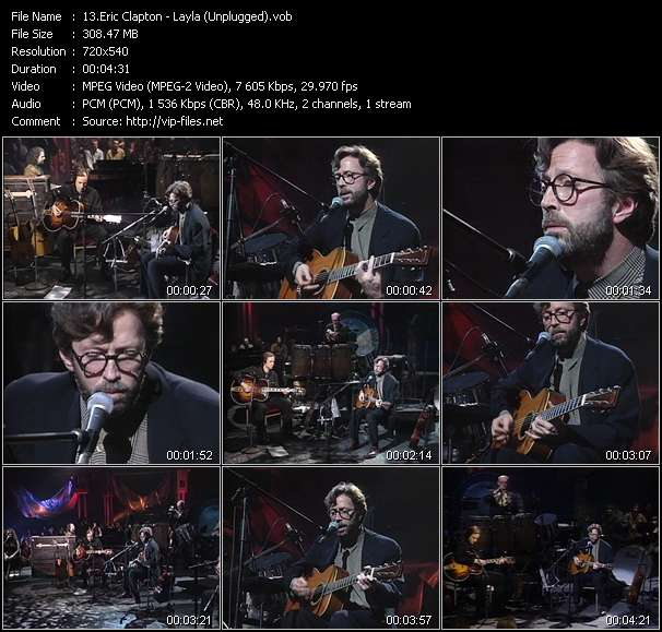 Screenshot of Music Video Eric Clapton - Layla (Unplugged)