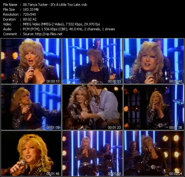 Screenshot of Music Video Tanya Tucker - It's A Little Too Late