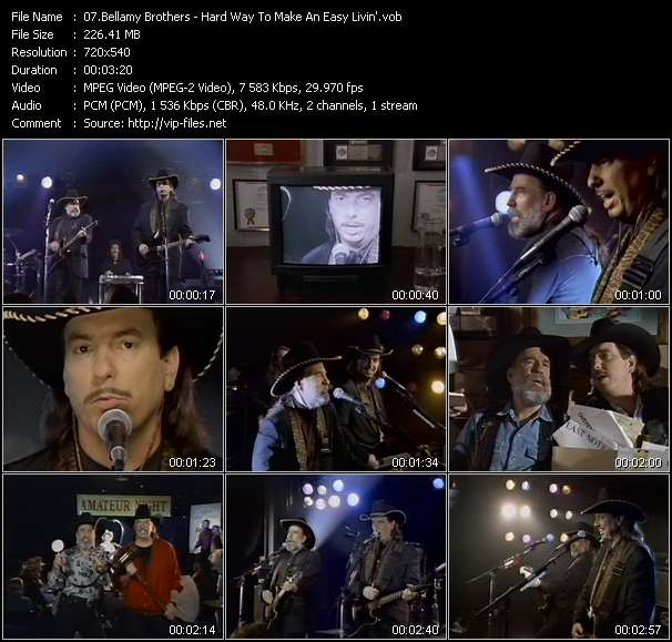 Screenshot of Music Video Bellamy Brothers - Hard Way To Make An Easy Livin'