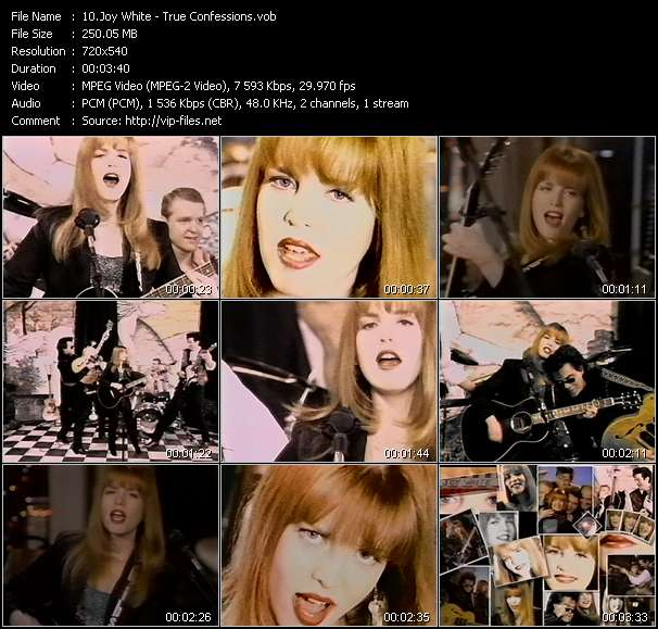 Screenshot of Music Video Joy White - True Confessions