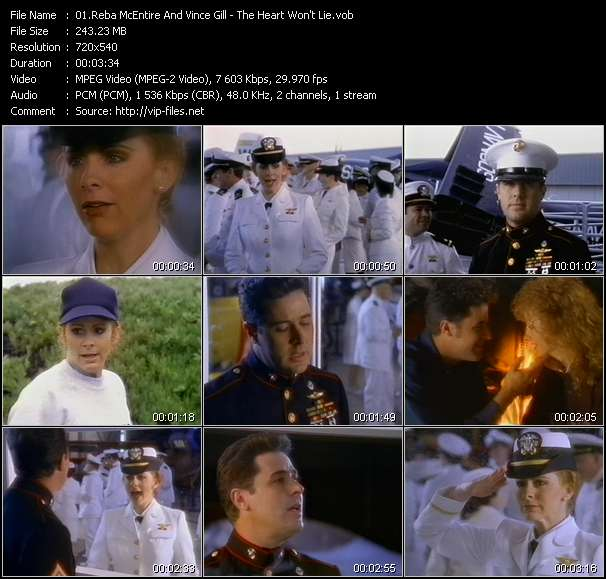 Screenshot of Music Video Reba McEntire And Vince Gill - The Heart Won't Lie