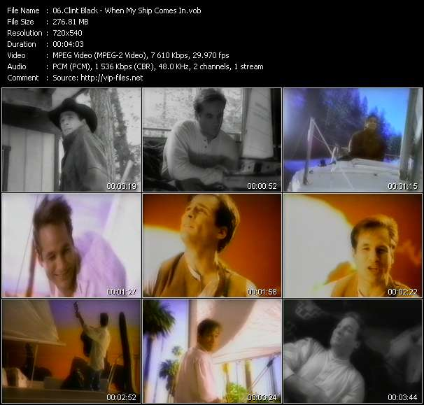 Screenshot of Music Video Clint Black - When My Ship Comes In