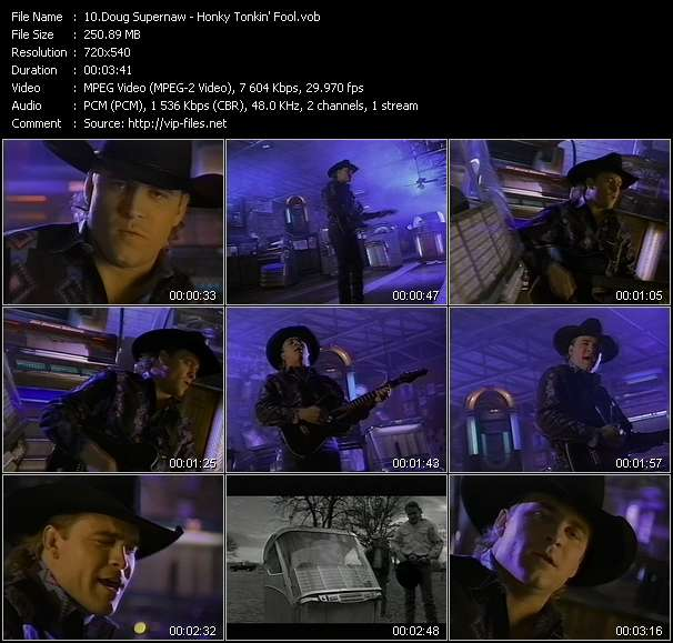 Screenshot of Music Video Doug Supernaw - Honky Tonkin' Fool