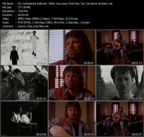Screenshot of Music Video Confederate Railroad - When You Leave That Way You Can Never Go Back