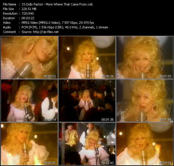 Screenshot of Music Video Dolly Parton - More Where That Came From