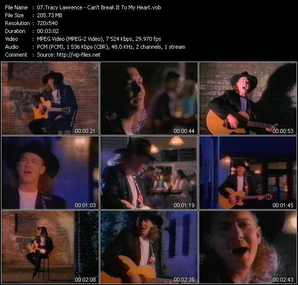 Screenshot of Music Video Tracy Lawrence - Can't Break It To My Heart