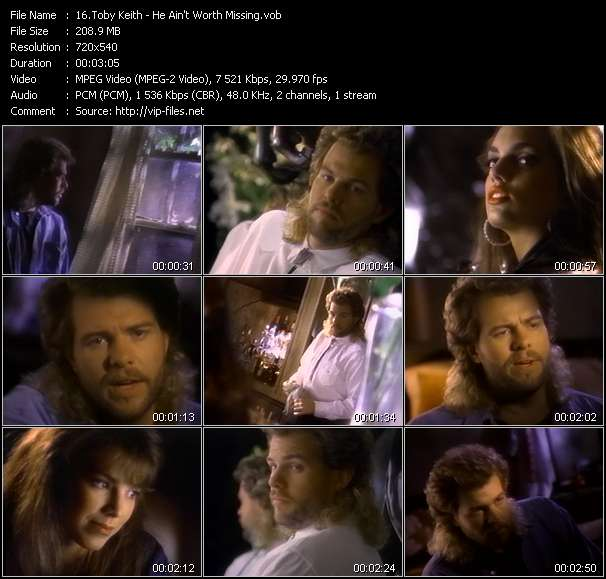 Screenshot of Music Video Toby Keith - He Ain't Worth Missing