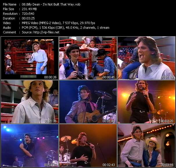 Screenshot of Music Video Billy Dean - I'm Not Built That Way