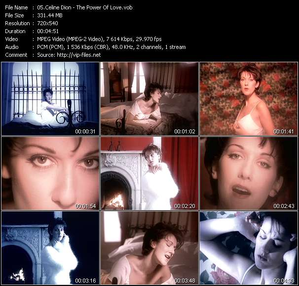 Screenshot of Music Video Celine Dion - The Power Of Love