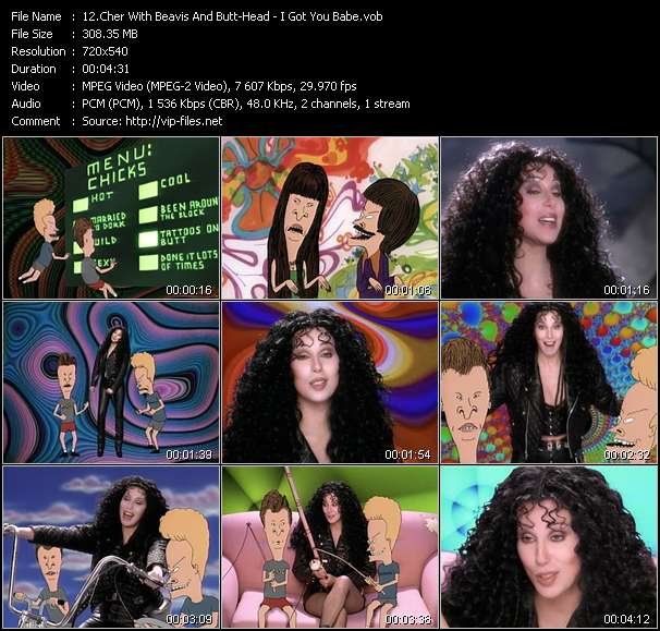 Screenshot of Music Video Cher With Beavis And Butt-Head - I Got You Babe