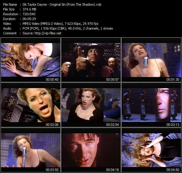 "Screenshot of Music Video Taylor Dayne - Original Sin (From ""The Shadow"")"