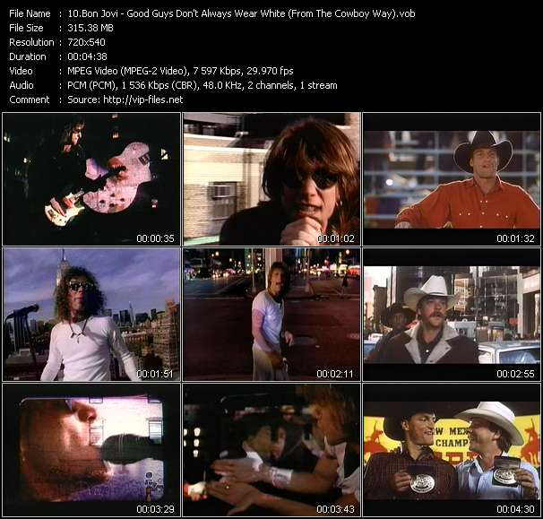 "Screenshot of Music Video Bon Jovi - Good Guys Don't Always Wear White (From ""The Cowboy Way"")"