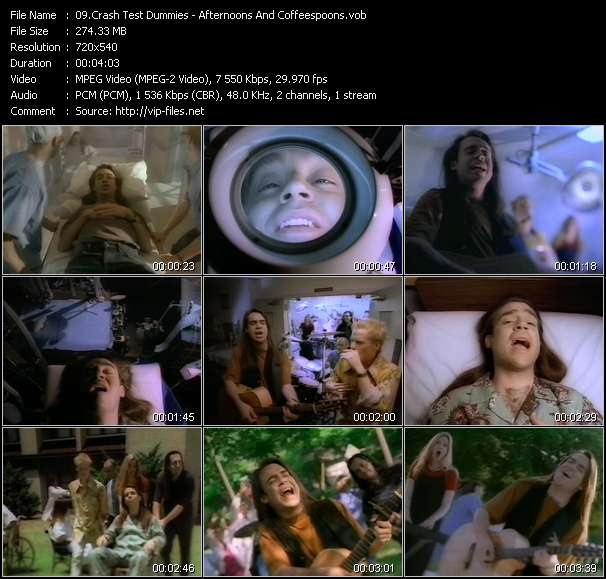 Screenshot of Music Video Crash Test Dummies - Afternoons And Coffeespoons